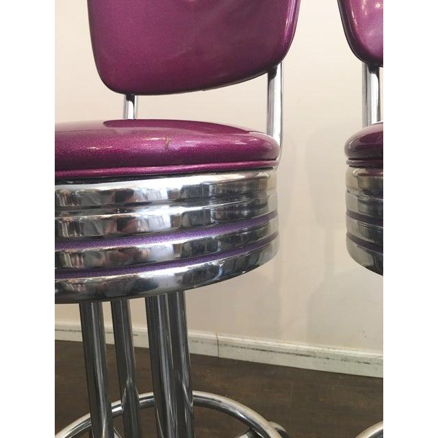 Purple Sparkle Vinyl & Chrome Barstools - a Pair - Image 5 of 6