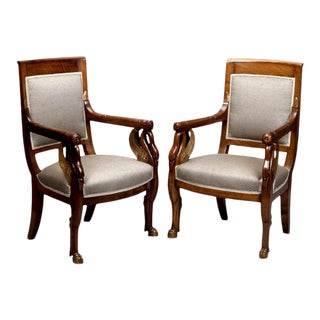French Empire Mahogany & Parcel Gilt Chairs - A Pair