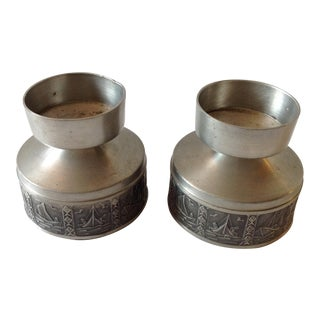 Pewter Candle Holders Made in Norway - Pair