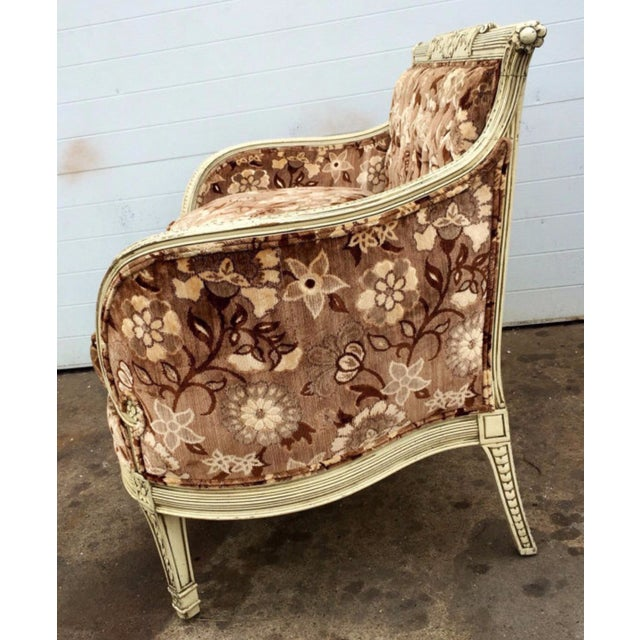 French Style Floral Upholstered Loveseat - Image 4 of 4