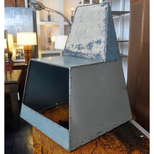 "Blue Metal ""Shoebox"" Chair - Image 6 of 6"