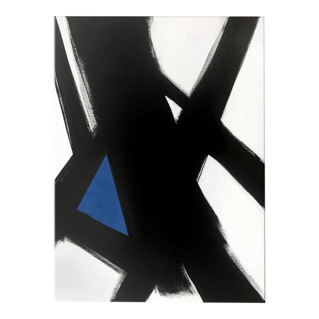 "Image of ""Black Slash No. 4 Blue"" Original Painting"