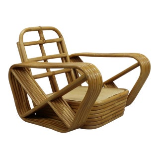 Stacked Rattan Arm Chair in the Style of Paul Frankl