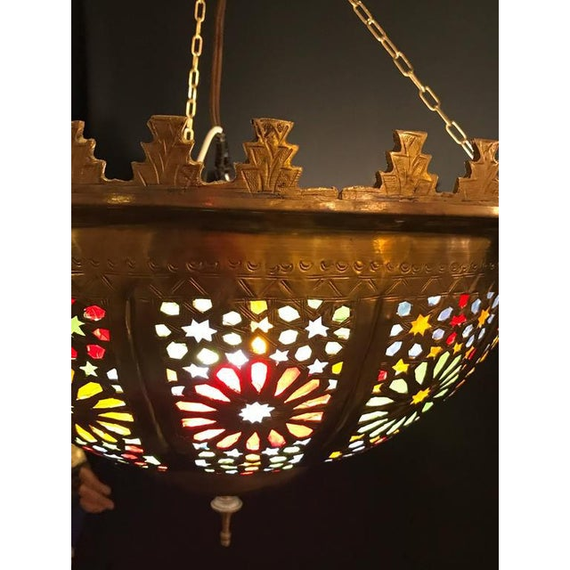 Tiffany Fashioned Hand-Hammered Brass and Colored Glass Light Fixture - Image 4 of 8
