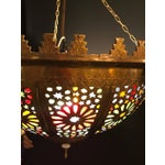 Image of Tiffany Fashioned Hand-Hammered Brass and Colored Glass Light Fixture