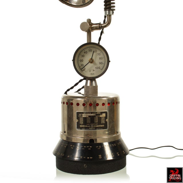 Industrial Table Lamp with LED Lighting and Clock - Image 10 of 10