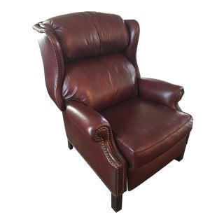 Hancock & Moore Addison Bustle Back Ball & Claw Recliner in Red Leather