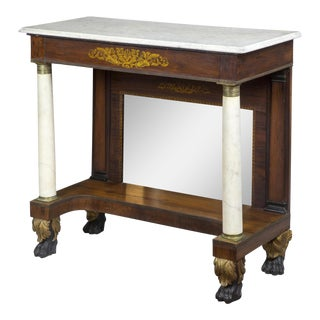 Rosewood Stenciled Pier Table with Marble Columns