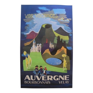 1960s French Vintage Travel Poster, Auvergne