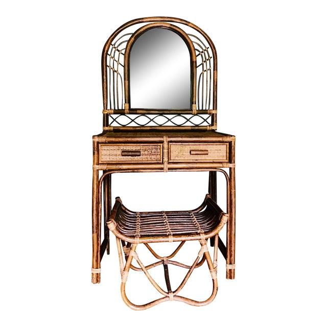 Vintage Bamboo & Rattan Two-Piece Vanity Set W/ Mirror & Stool - Image 1 of 8
