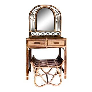 Vintage Bamboo & Rattan Two-Piece Vanity Set W/ Mirror & Stool