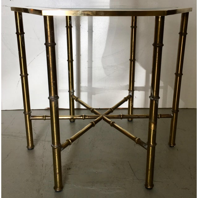 Image of Mastercraft Brass Faux Bamboo Hexagonal Accent Table