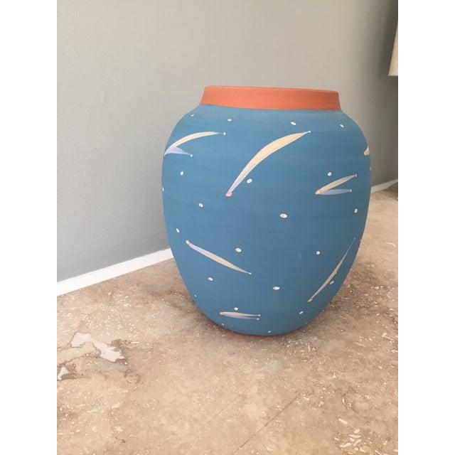 Blue Terra Cotta Decorative Vase - Image 3 of 6