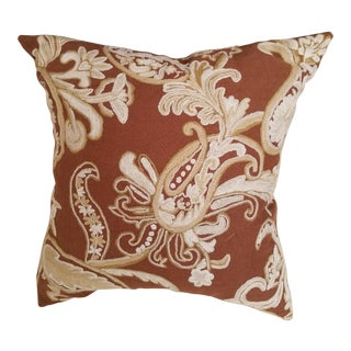 Custom Made Clarence House Cocoa Brown and Ivory Crewel Embroidered Linen Pillow Down Filled