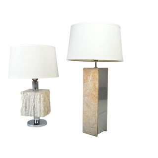 Mid-century Italian Retro Marble Table Lamps by Sg, Italy, After Nessen