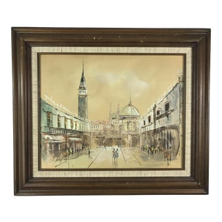 Golden Modernist Abstract Cityscape Oil Painting by Hofmann