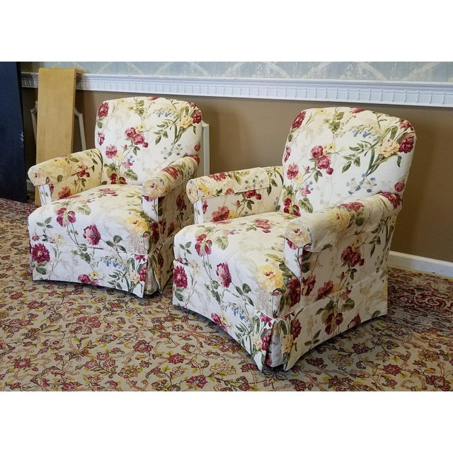 Ethan Allen Floral Upholstered Armchairs #20-7555- a Pair - Image 4 of 11