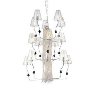 George Kovacs Contemporary Chandelier - Chrome, Glass Shades, Three Tier - Dramatic