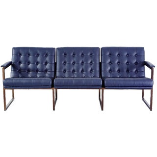 Chromcraft Navy Leather Sofa