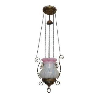 Antique Opaline Glass Oil Lantern Pendant Light Fixture