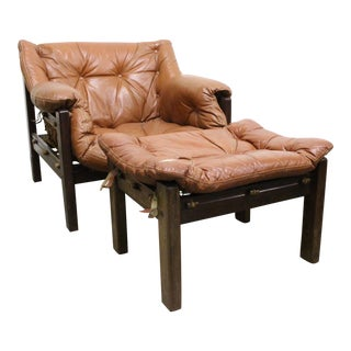 Jean Gillon Leather Chairs & Ottomans - a Pair Availible