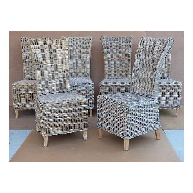 Rattan Wicker High Back Dining Chairs Set Of 6 Chairish