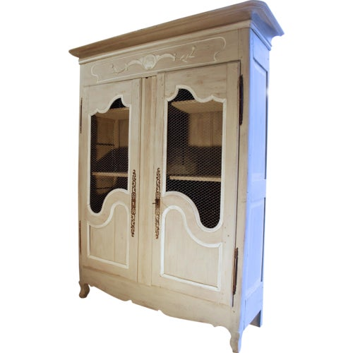 French Provincial Louis XV Style Grey Painted Armoire - Image 2 of 10