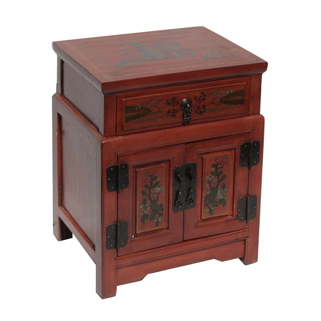 Chinese Orange End Table W/Flower Vase Graphic - Image 2 of 5