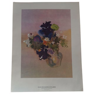 Art Print - Black Iris, Daisies & Cyclamen