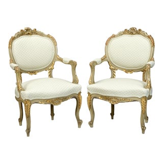 19th-Century Gilded Louis XV Style Fauteuils - A Pair
