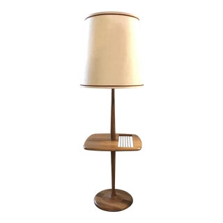 Laurel Walnut Floor Lamp W Table & Magazine Rack