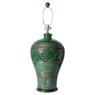 Emerald Green Glass Mosaic Urn Lamp & Finial Huge