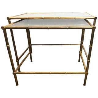 A Brass Nest Of Tables With Mirror Tops In Bamboo Form