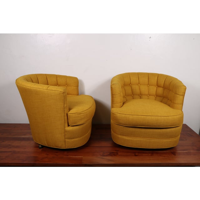 Tufted Swivel Chairs - Pair - Image 3 of 5