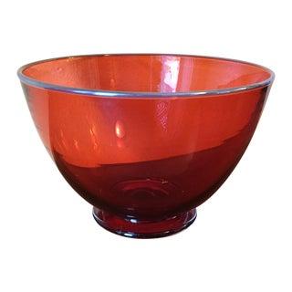 Gabriel Cole Hand Blown Cranberry Glass Bowl