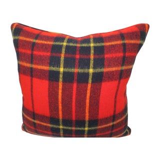 Wool Plaid Down Pillow - Black & Red