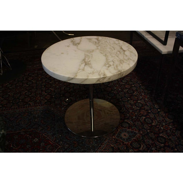 Zographos White Marble & Chromed Steel Side Table - Image 2 of 5