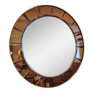 Round Wall Mirror by Cristal Arte, Italy circa 1970