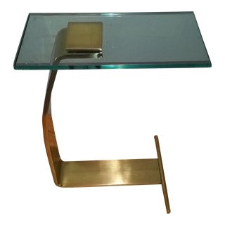 Design Institute of America Dia Mid-Century Modern Brass & Glass Accent Table