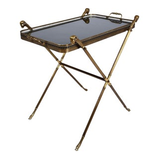 Vintage Hollywood Regency Style Brass & Black Lacquer Tray Table