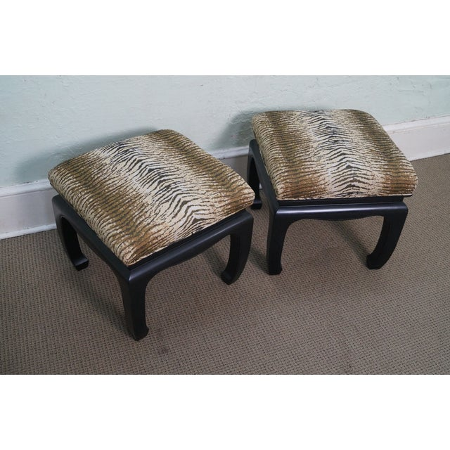 Ebonized Asian Influenced Ottoman/Benches - A Pair - Image 2 of 10