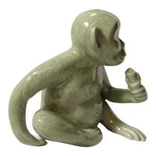 Sweet Ceramic Monkey Statue in Pale Green Glaze