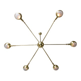 Rare Brass Six-Arm Chandelier