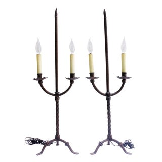 Pair of Vintage Baroque-style Candelabra Lamps