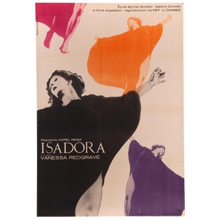"""Isadora"" 1970 Vintage Vanessa Redgrave Polish Film Poster"