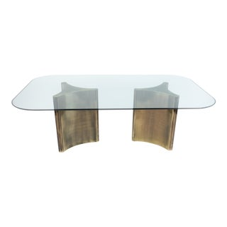 Mastercraft Dual-Pedestal Dining Table with Glass Top