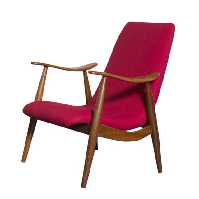 Mid-Century Magenta Upholstery Teak Lounge Chair - Image 1 of 10