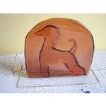 Image of Vintage Deco Style Glass Dog Plaque/Ornament