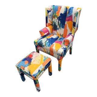 Century Mid-Century Wingback Chair & Ottoman
