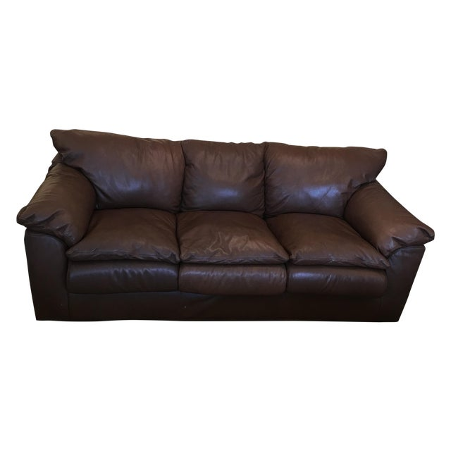 Contemporary Brown Leather Sofa - Image 1 of 9